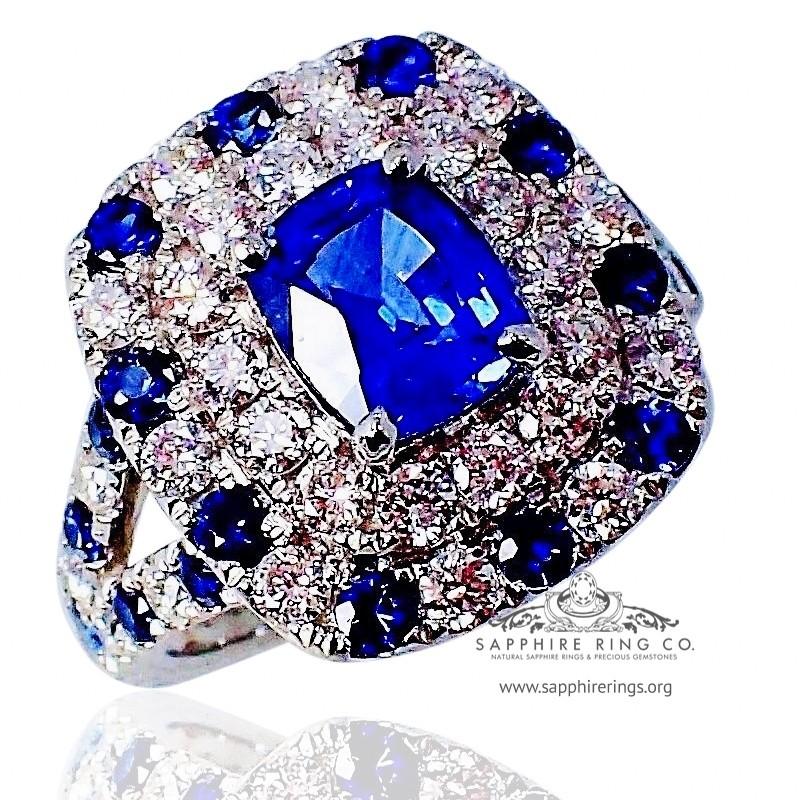 Platinum Sapphire Diamond Ring, 1.69 ct Cushion Cut