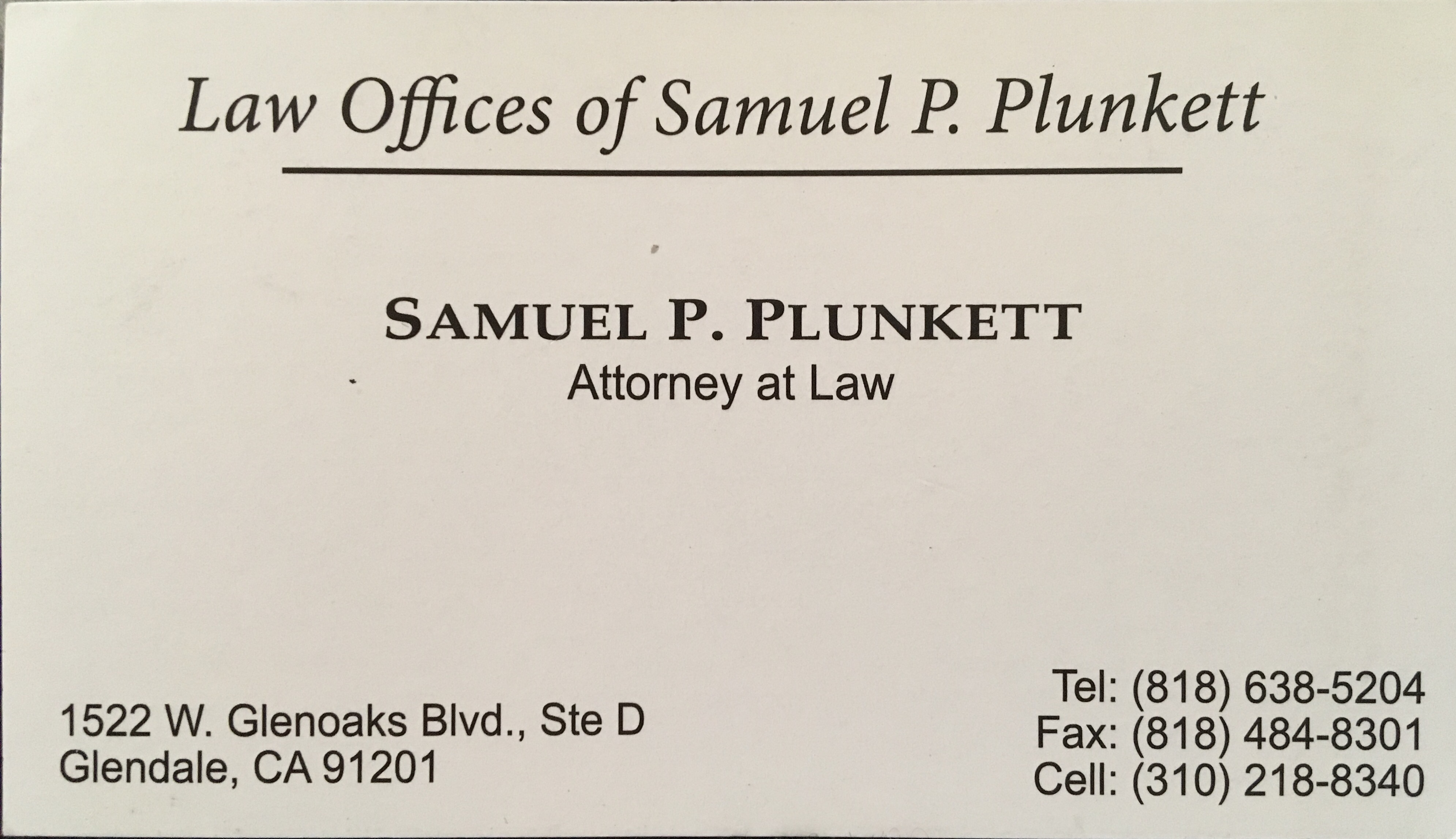 Law Offices Of Samuel P. Plunkett