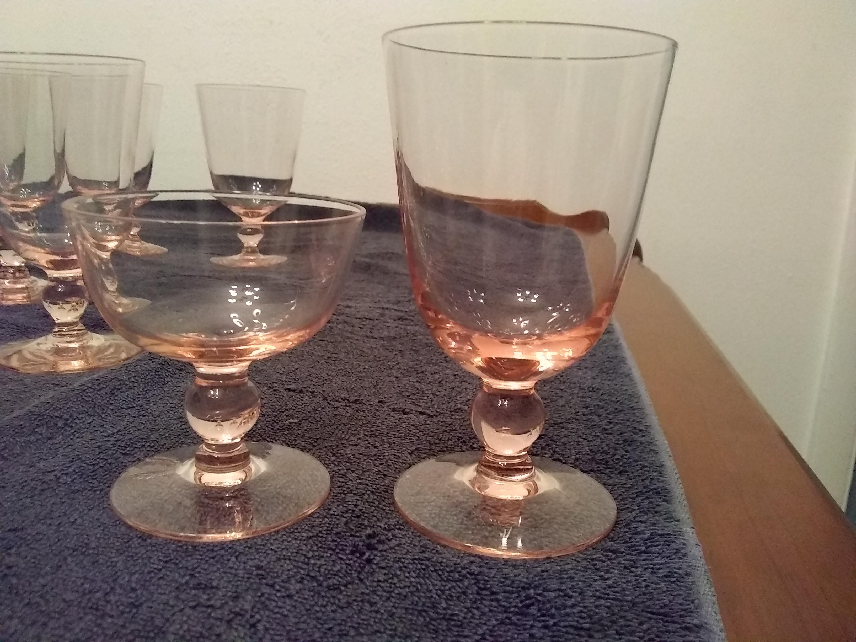 Blush Pink Crystal Wine Stemware