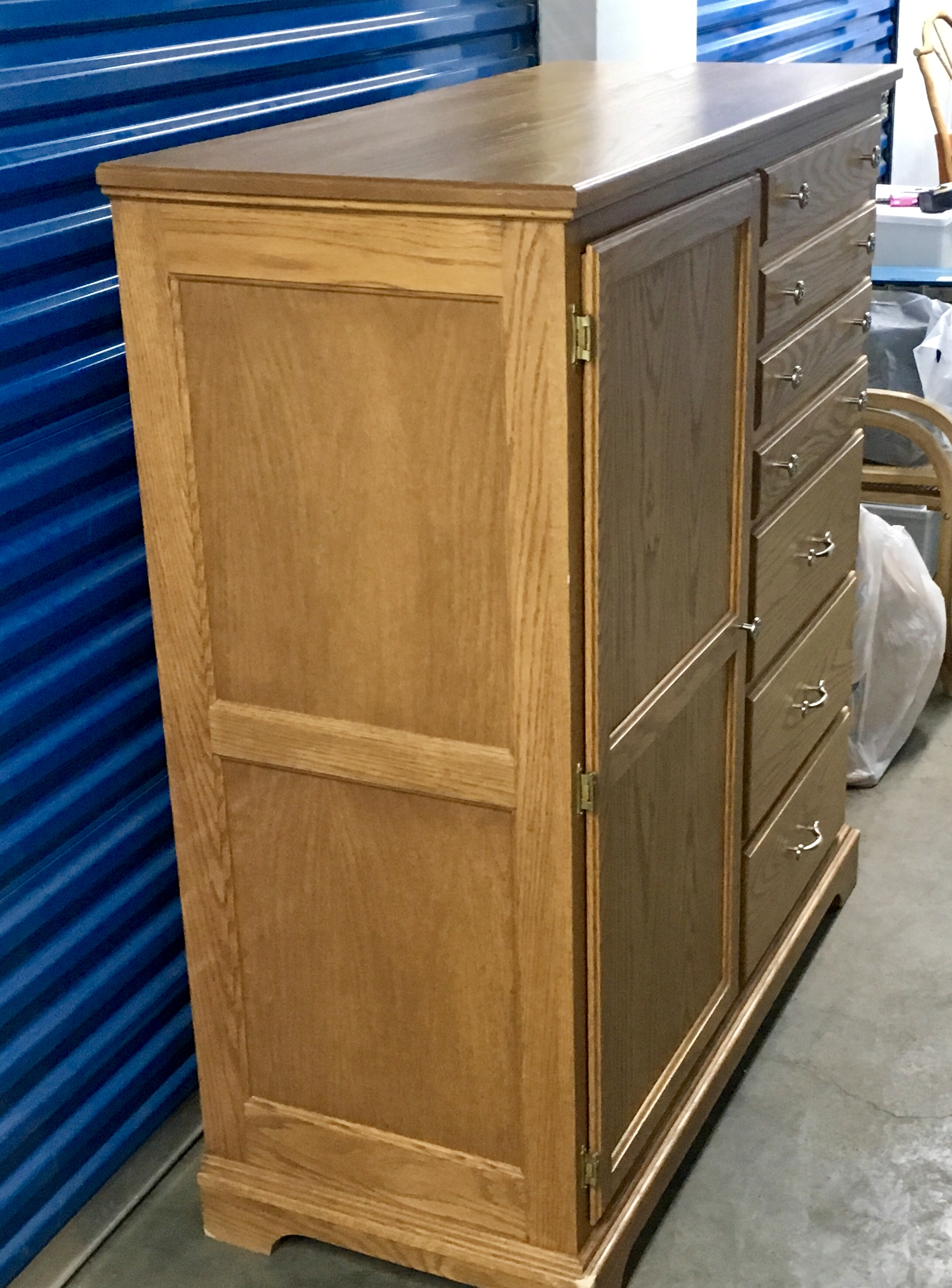 Beautiful Oak Pennsylvania Amish Dresser Armoire - Custom-made $585.