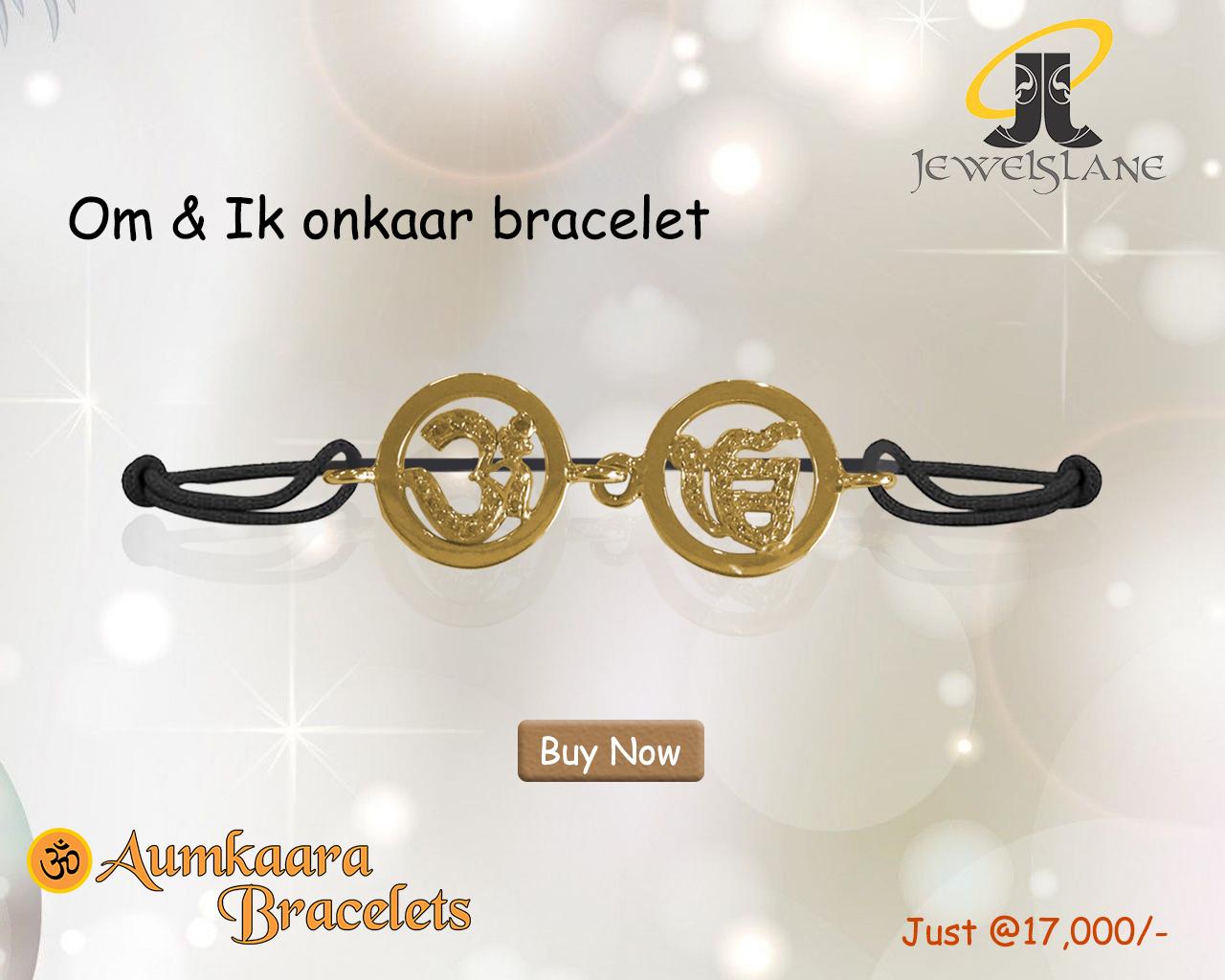 Om & Ik Onkaar Bracelet In 14k Gold On Adjustable Thread Bracelet