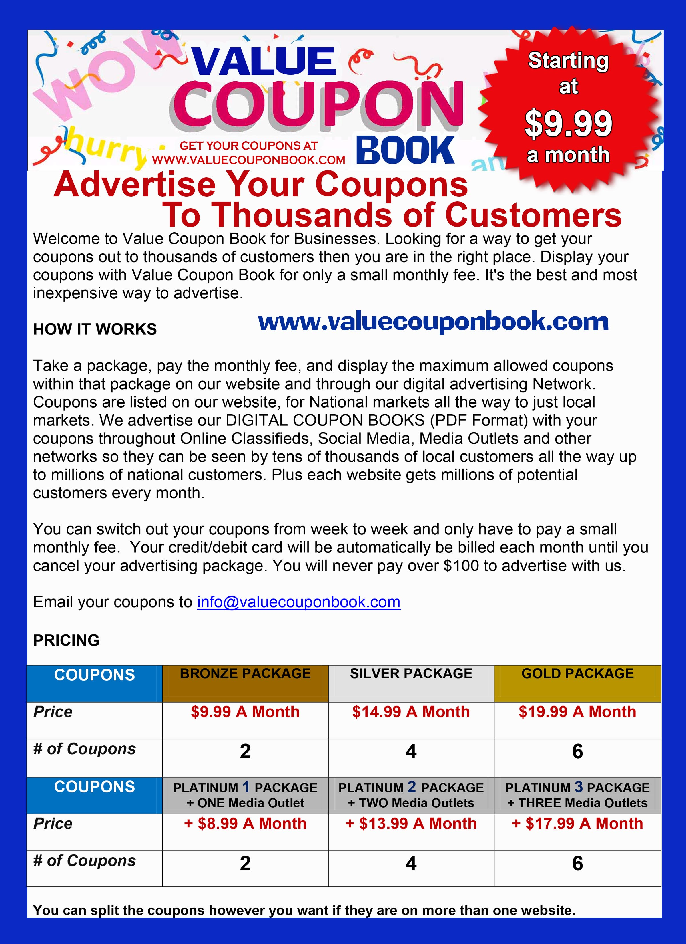 Reach a Million Customers for 9.99 |Coupon  Advertising