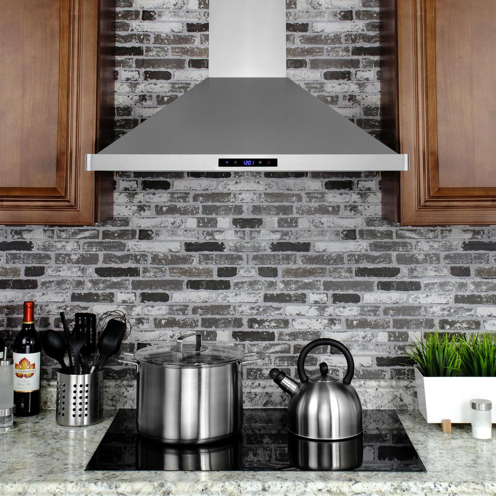 "RH0282 30"" Convertible Wall Mount Range Hood w/ LEDs and Touch Control"