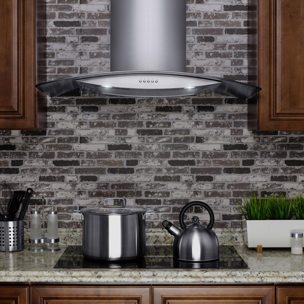 "RH0364 30"" Convertible Wall Mount Range Hood w/ Tempered Glass and Button Controls"