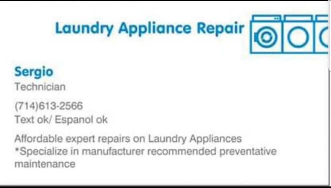 Reparaciones y mantenimiento de lavadoras y secadoras