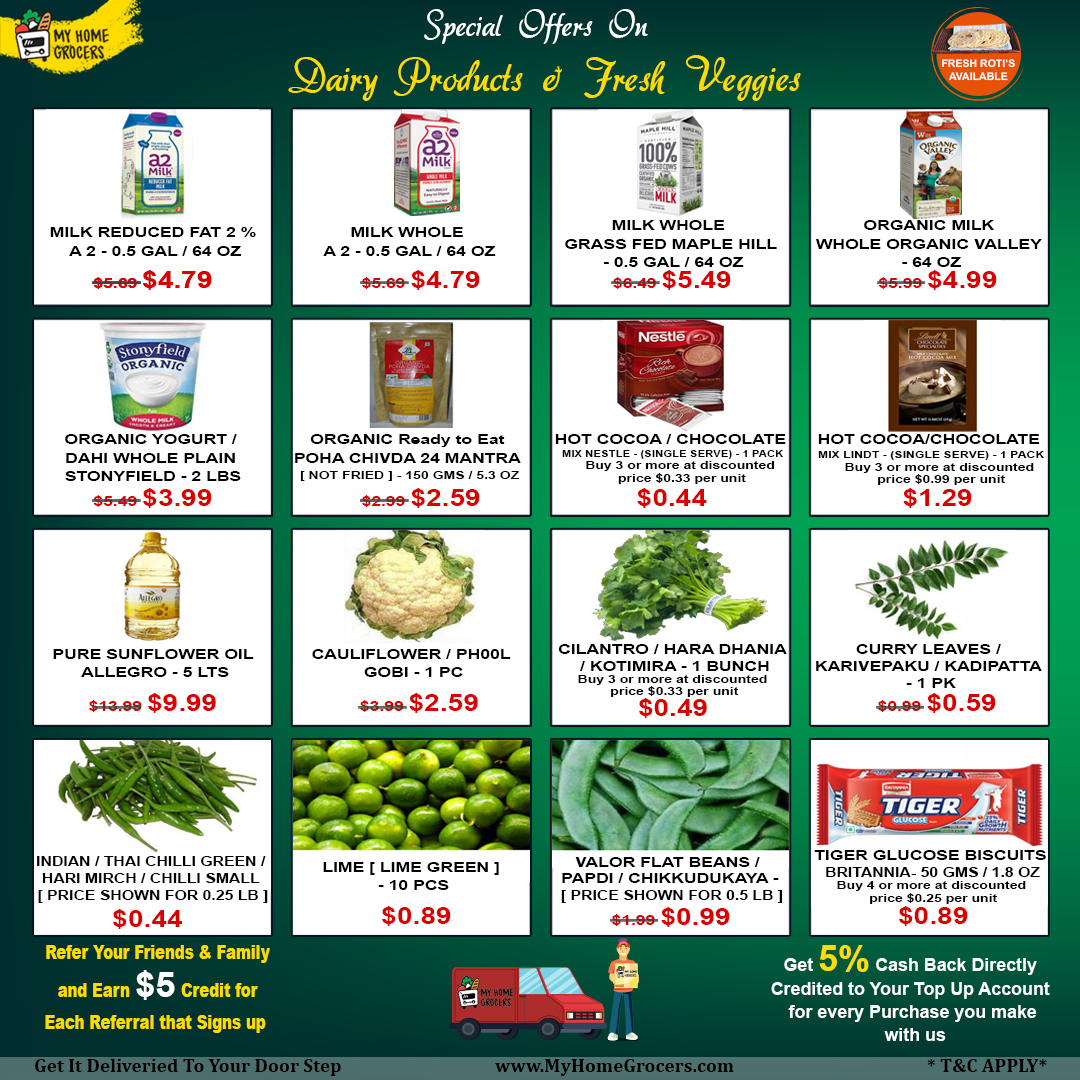 Special Offers On Dairy Products & Fresh Veggies Online Frisco,Texas - MyHomeGrocers