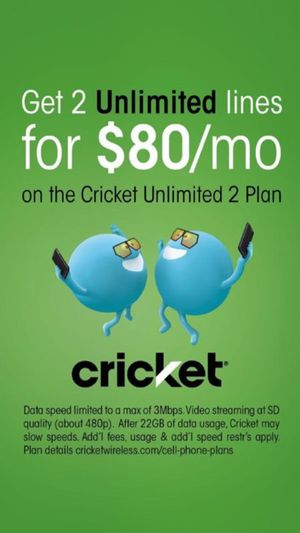 GET 2 UNLIMITED LINES FOR ONLY $80 PER MONTH @ CRICKET WIRELESS SOUTHFIELD!!!