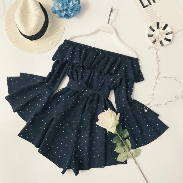 Ladies Polka Dot Slash Neck Vintage Sleeve