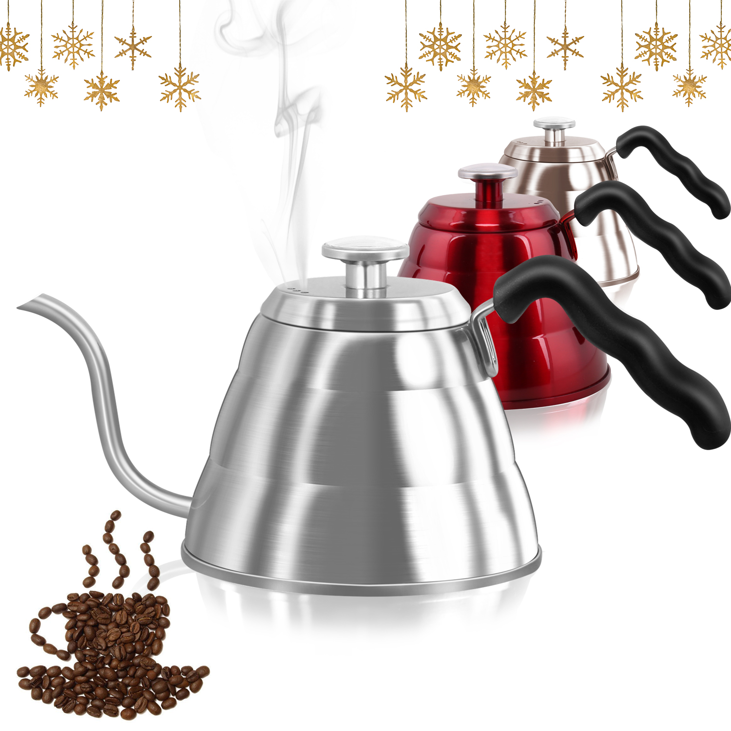 Dealz Frenzy Gooseneck Kettle (34floz, silver)