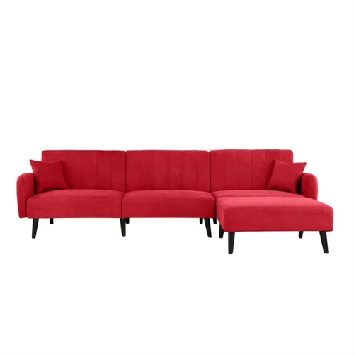Mid-Century Modern Red Linen Sleeper Sectional Sofa.FF-454321333FS.