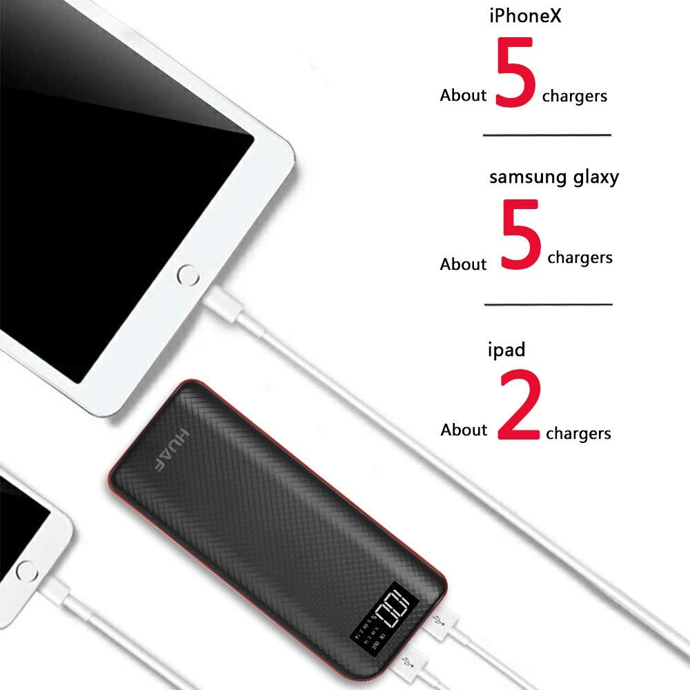 Power Bank 24000mAh Portable Charger 4 OutPuts Dual Inputs Huge Capacity Backup Battery