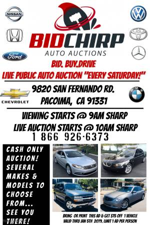 LIVE PUBLIC AUCTION!OPEN TO THE PUBLIC! EVERY SATURDAY! 9AM VIEWING 10AM BIDDING!