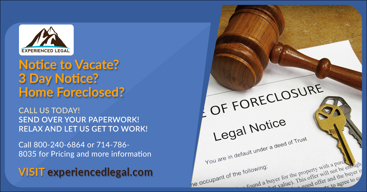 Stop Eviction!  Get more time in your home, visit experiencedlegal.com