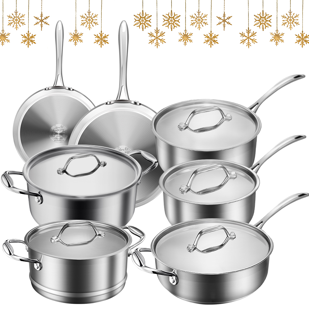stainless steel 12 pieces pans set, extra $20 coupon