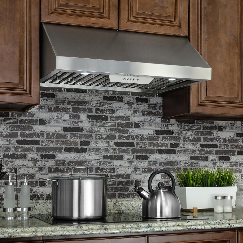 "RH0329 30"" Under Cabinet Range Hood w/ LEDs and Electronic Push Buttons, Stainless Steel"