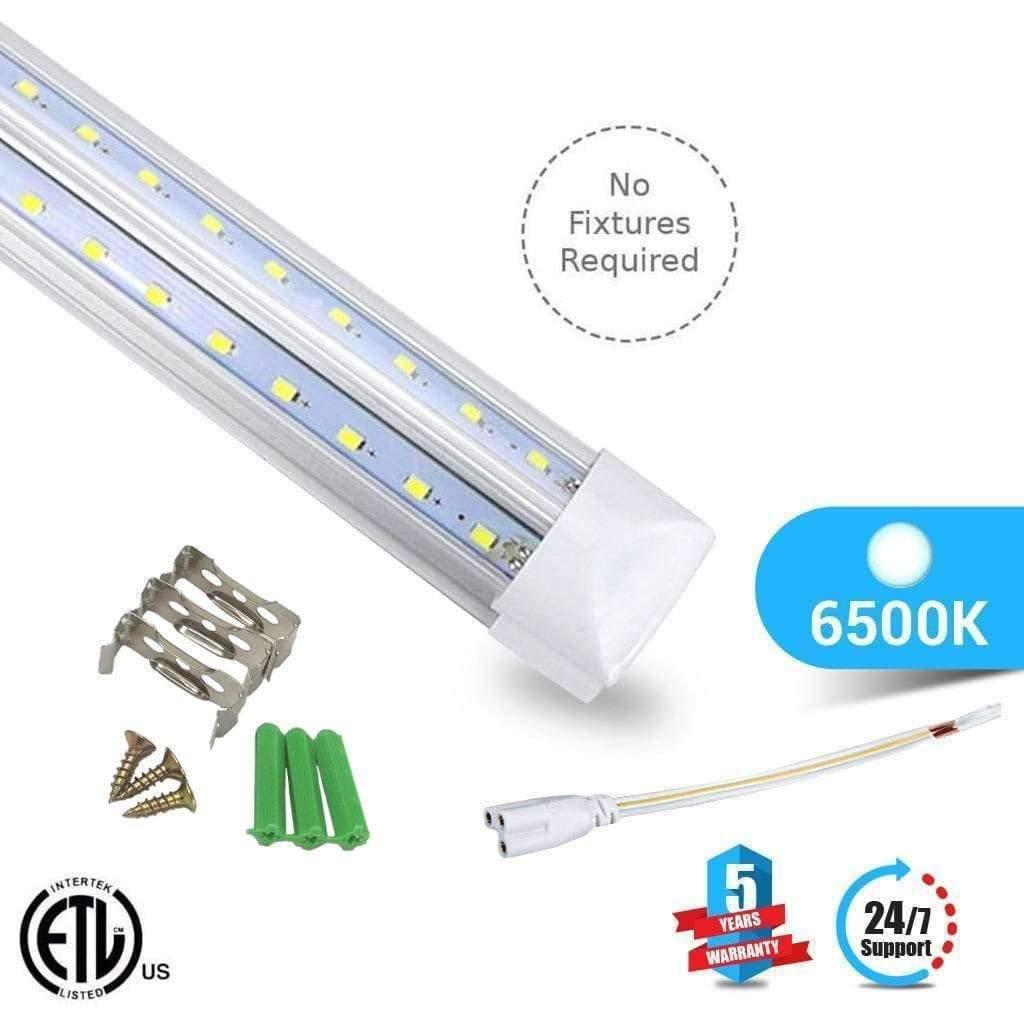 T8 8ft V Shape LED Tube 60W Integrated 6500k Clear