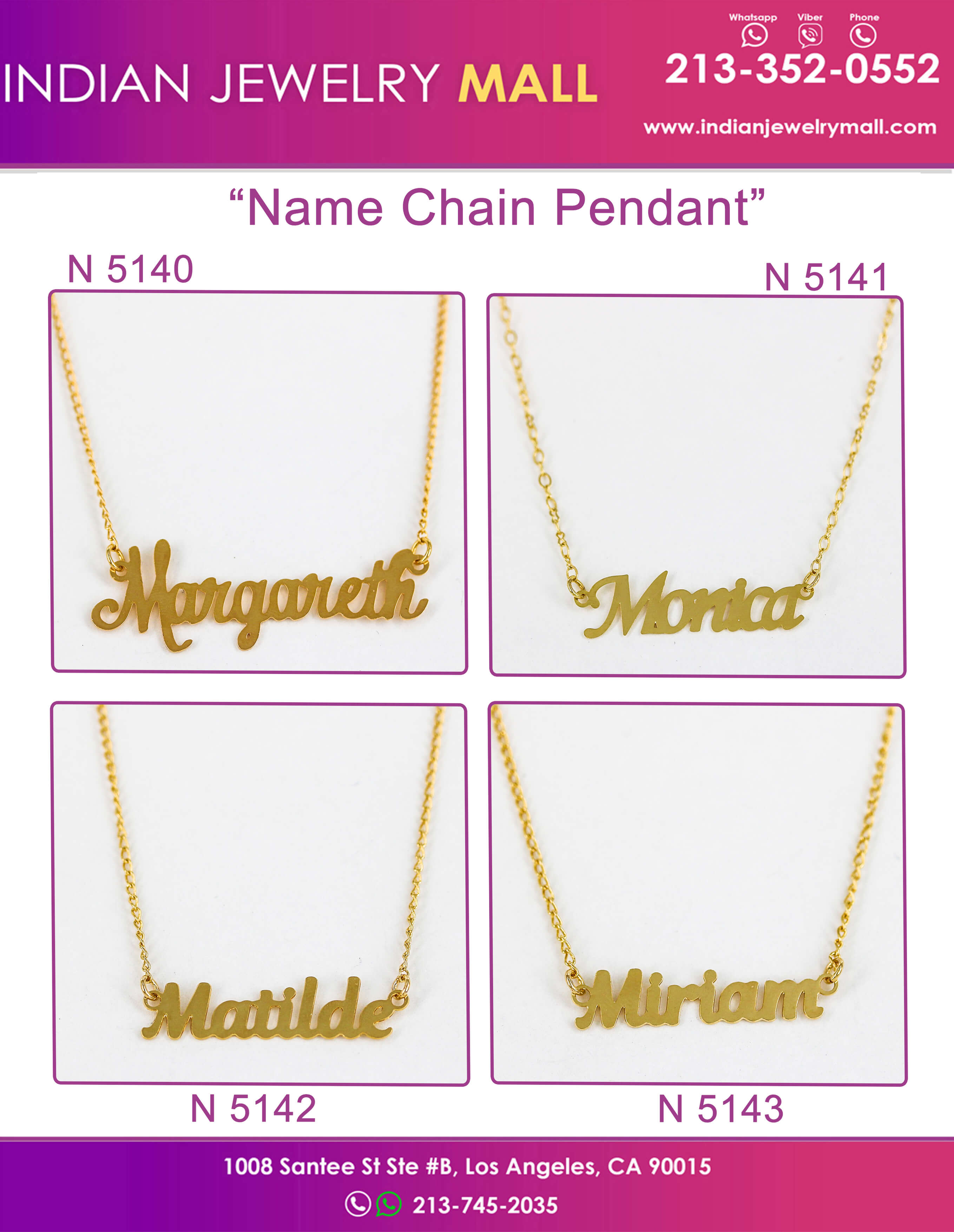 Gold Plated Name Chain Pendants - Oro Laminado Indian Jewelry Mall
