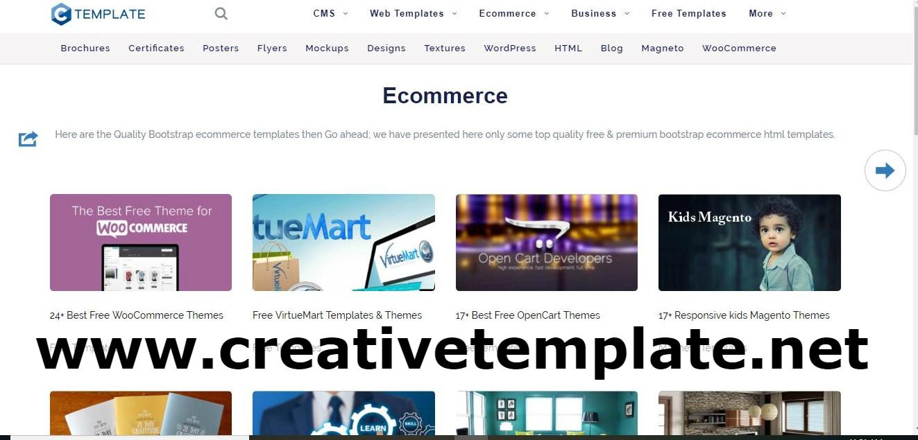 Online Ecommerce Website Templates - creativetemplate