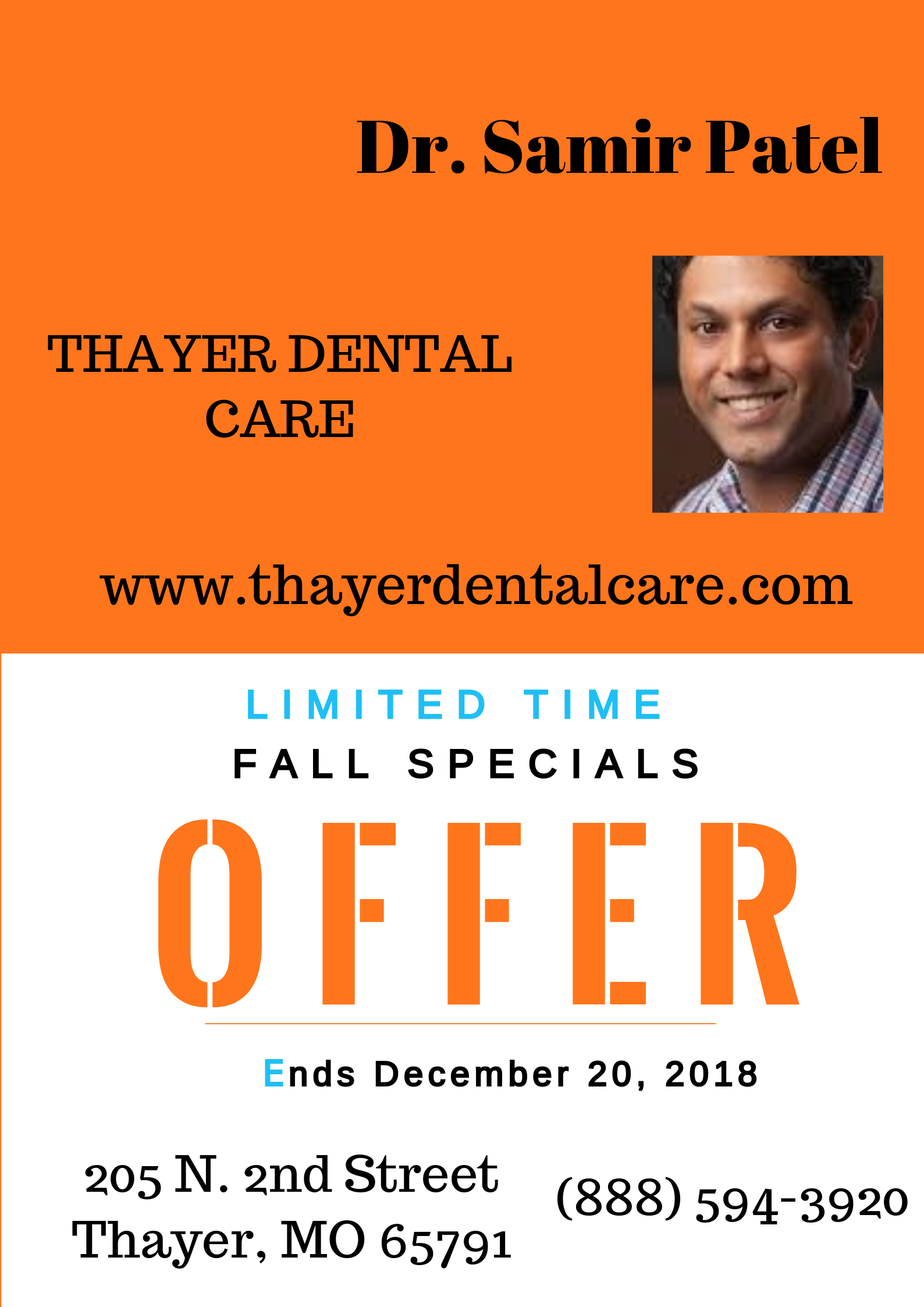 Dental Care - Fall Special Offer Ends December 20, 2018