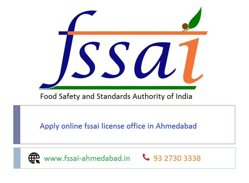 Apply online fssai license office in Ahmedabad