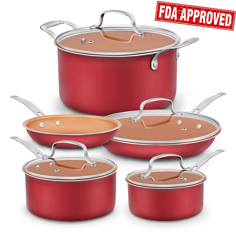 Save $10 with Amazon Coupon on Aluminum-Infused Copper Ceramic Non-Stick 9 Piece Cookware Set