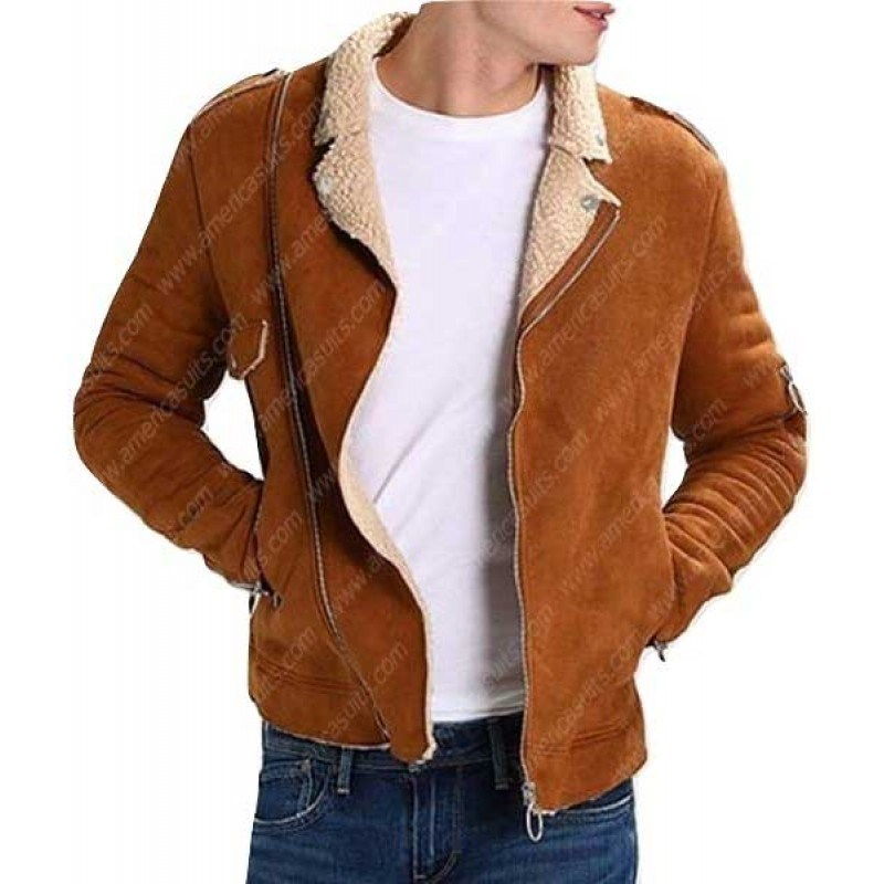 Men Camel Suede Motorcycle Jacket