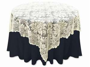 "72""x72"" Lace Table Overlays (Jolly Good) - Ivory"