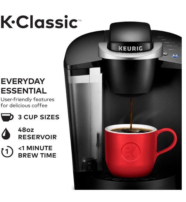 Keurig K55/K-Classic Coffee Maker, K-Cup Pod, Single Serve, Programmable, Black