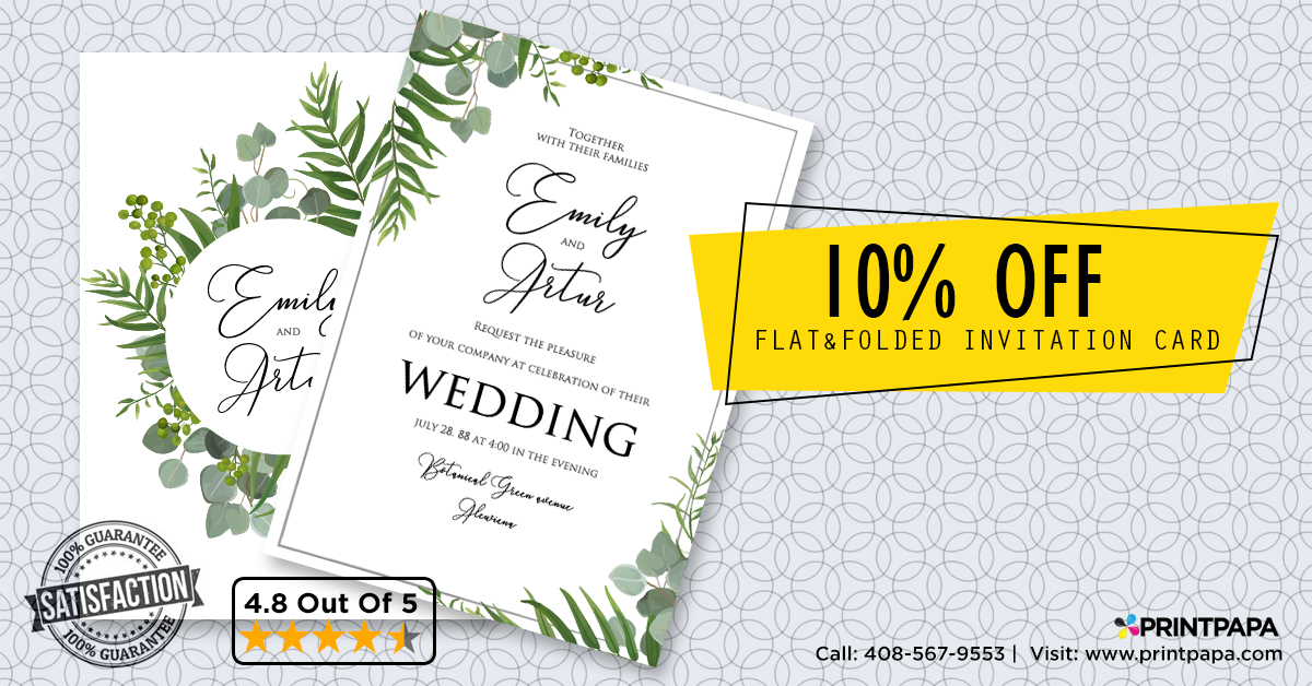 Get a 10% discount for Flat & Folded Invitation Card