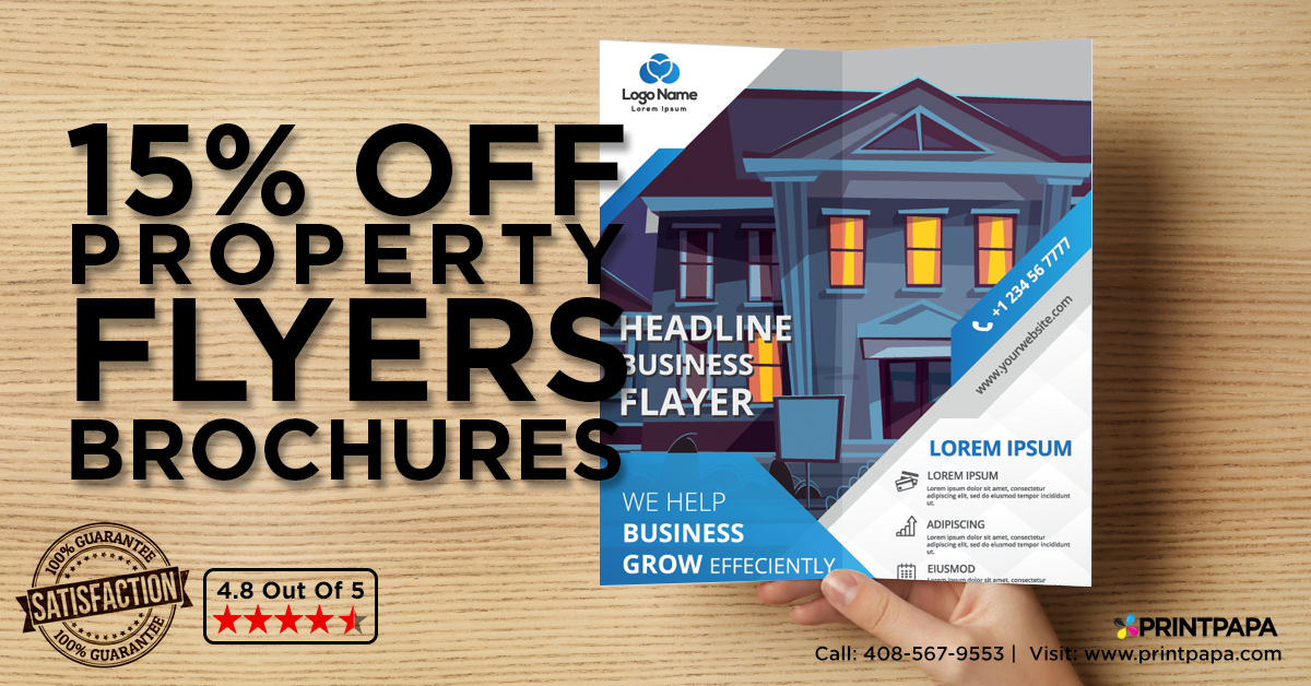 Get 15% Off on high quality Property Flyers & Brochures