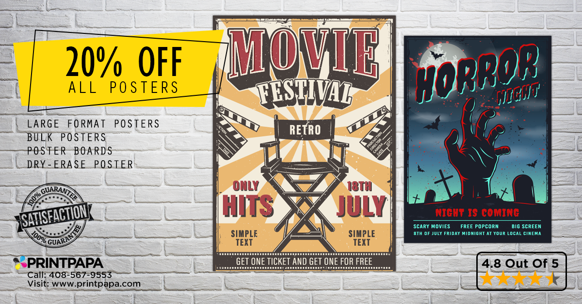 Now get 20% off (max $50) on bulk Poster Printing