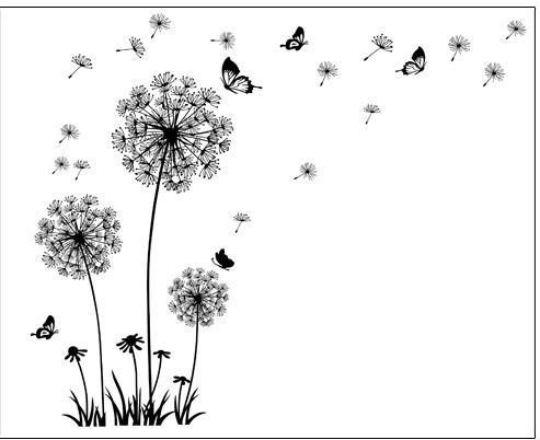 """Butterfly Flying In Dandelion ""Bedroom Wall Stickers"