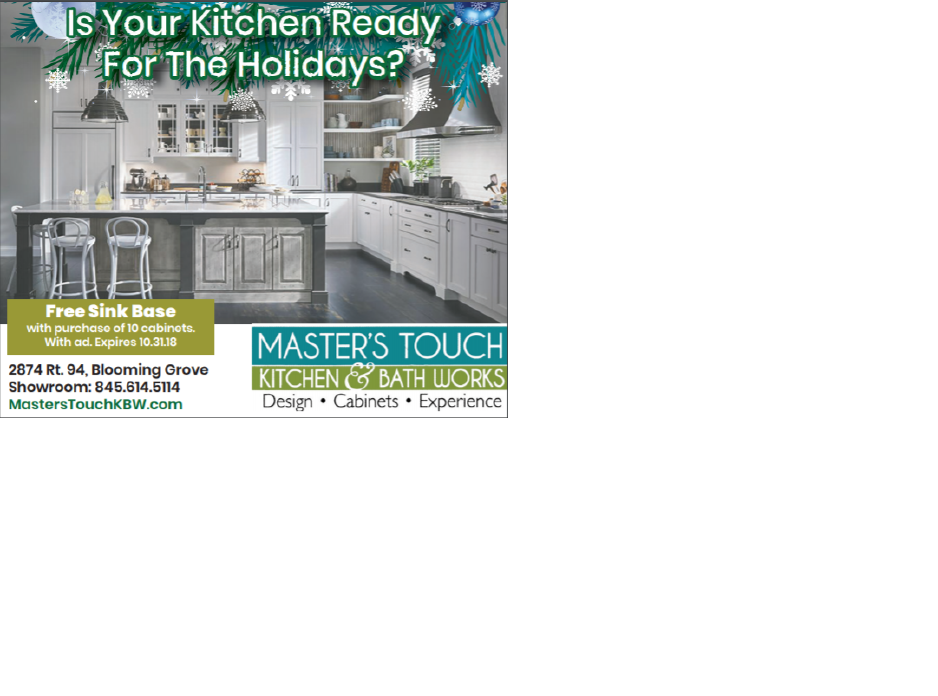 Free Design, Free Measurement, Free Sink Base, Free Paint, AND money off your Cabinetry!