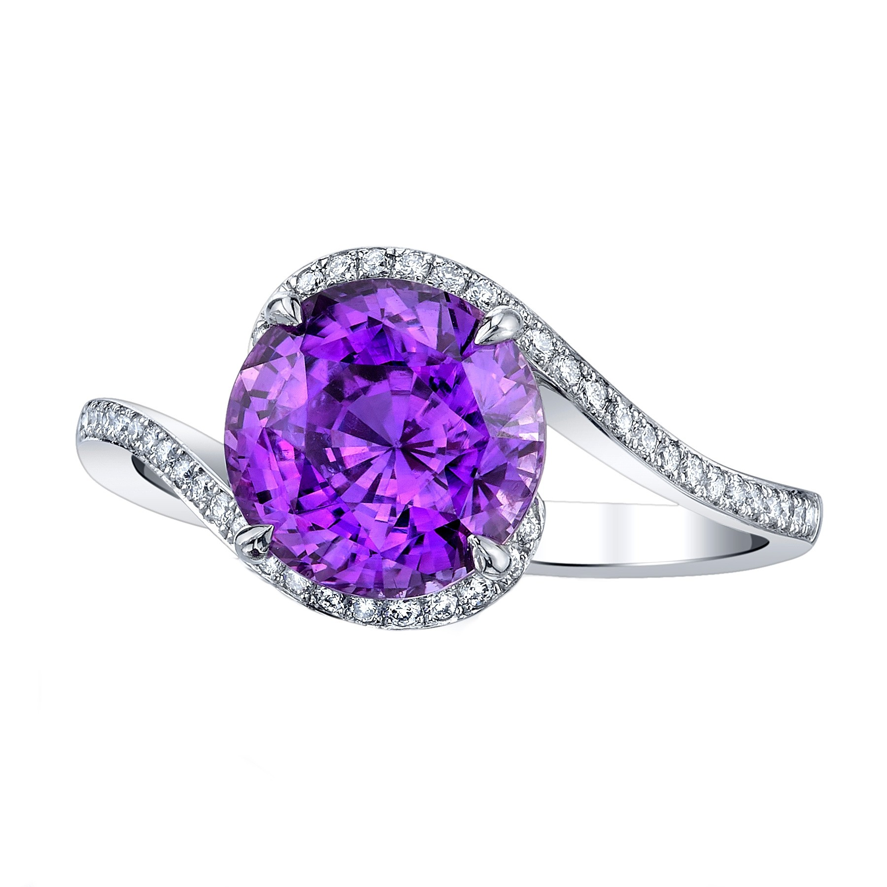 Jewelry | Violet Sapphire with gold carving ring