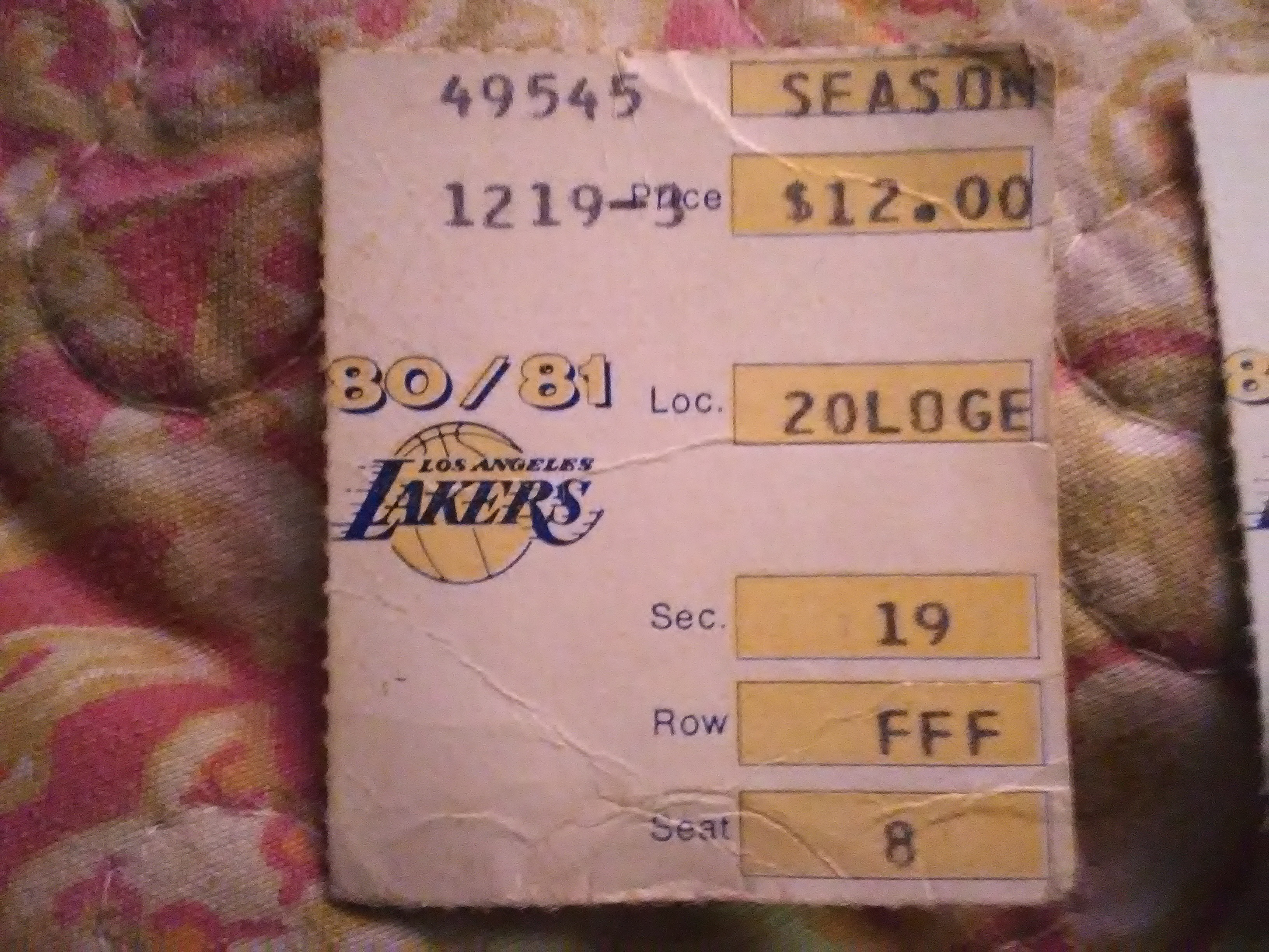 Dodgers and Lakers 1980s Game Ticket Stubs