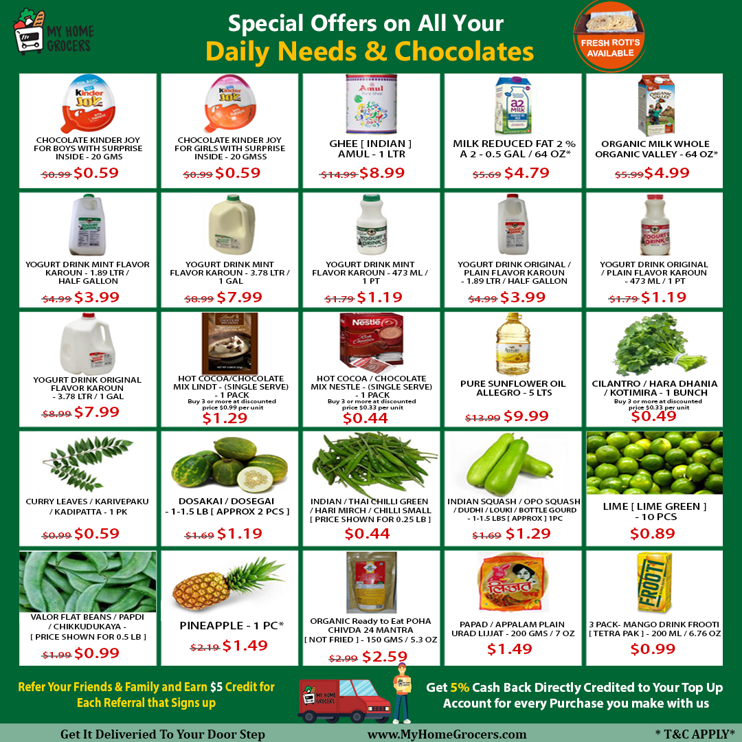 Special Offers On All Your Daily Needs & Chocolates Online Irving,Texas - MyHomeGrocers