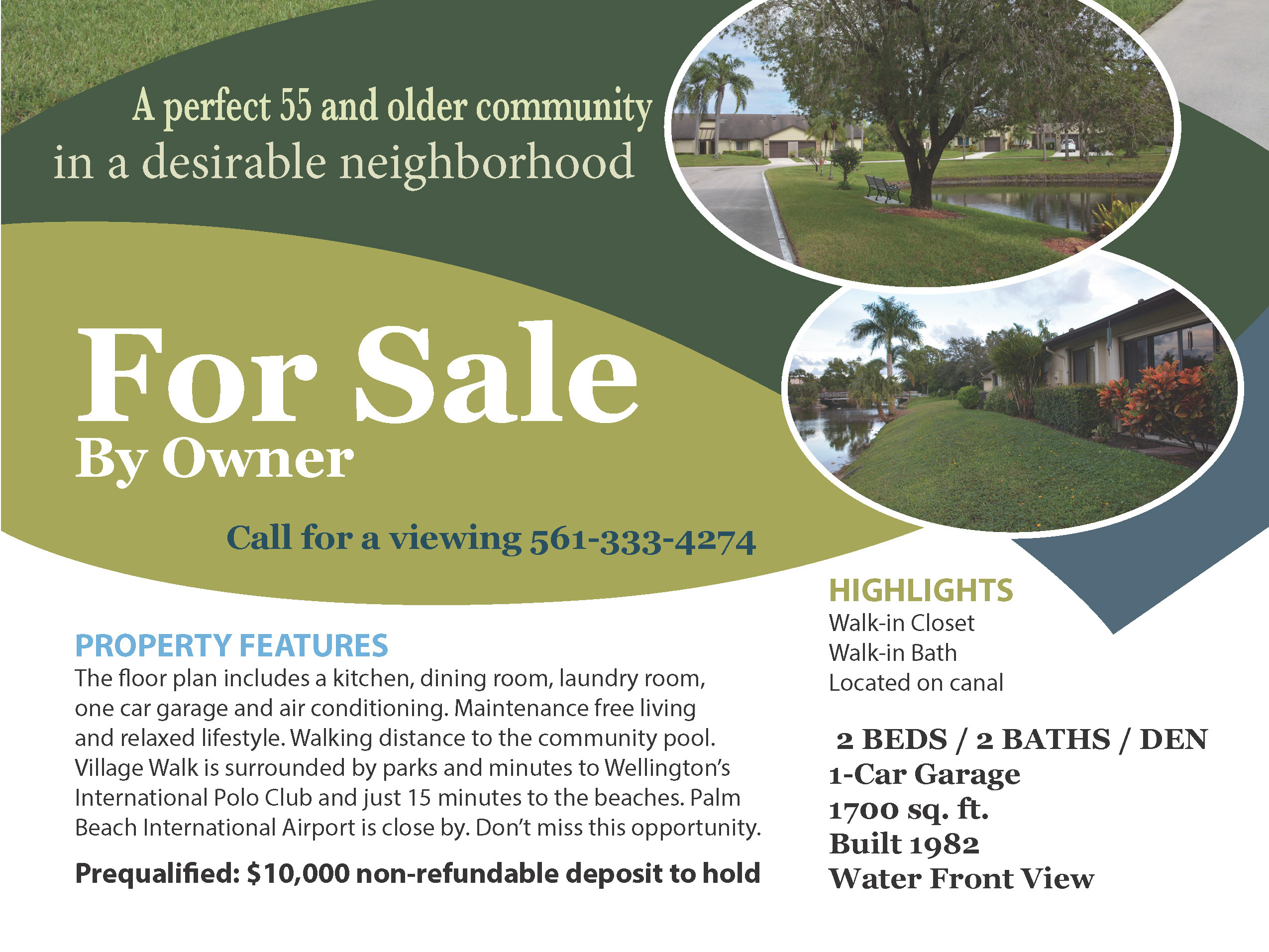 Townhouse for sale by owner In 55+ Community -110 Village Walk Drive, Royal Palm Beach, FL 33411