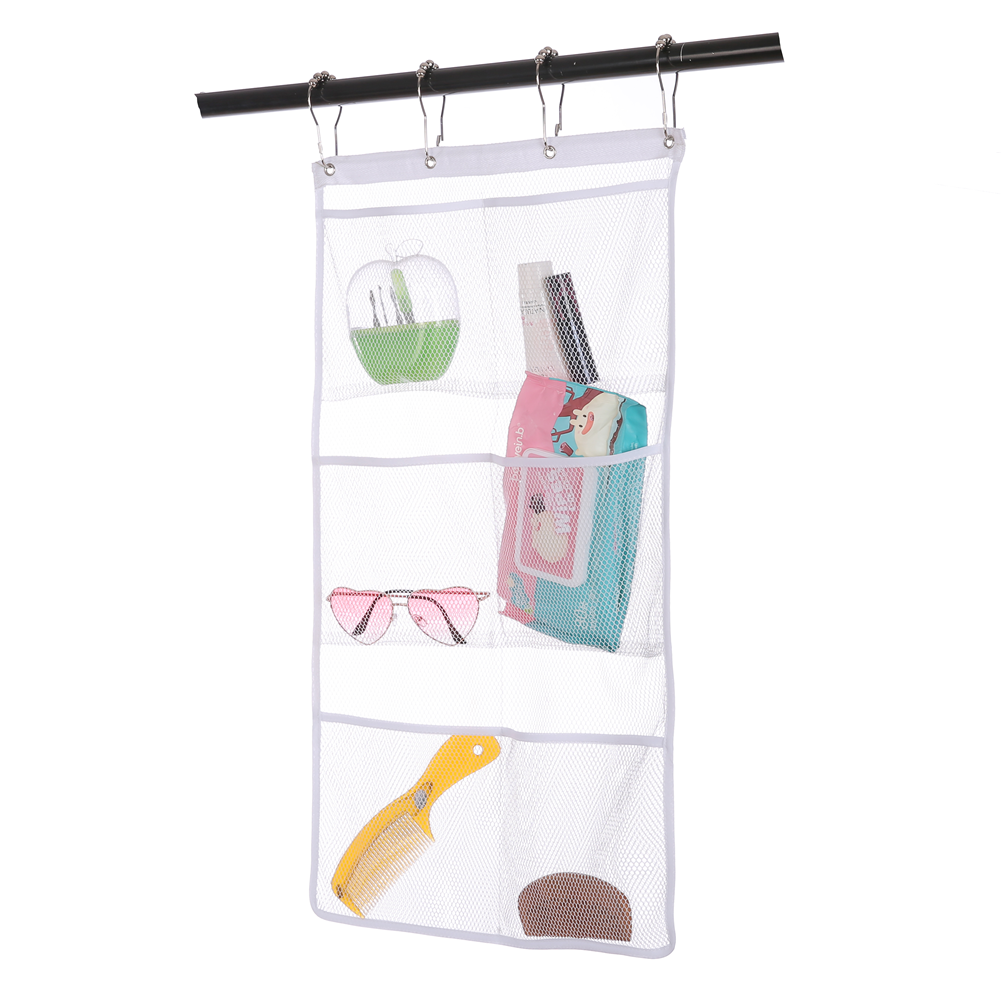 2 PACK Mesh Hanging Shower Curtain Rod Organizer with Pockets[Coupon: 7EKD5RW3](30% off)-$9.09