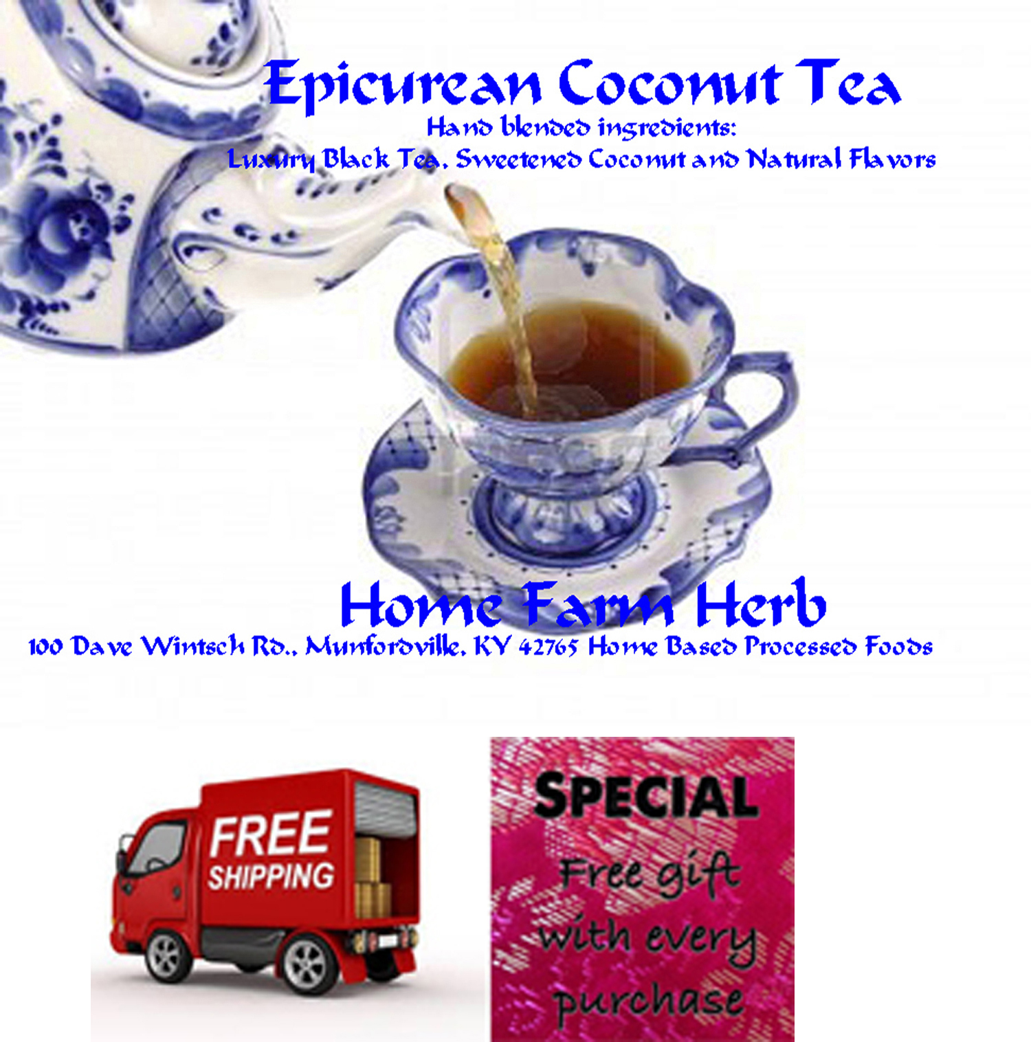 Epicurean Coconut Tea, Order now, Absolutely Delicious, Free shipping & FREE gift!