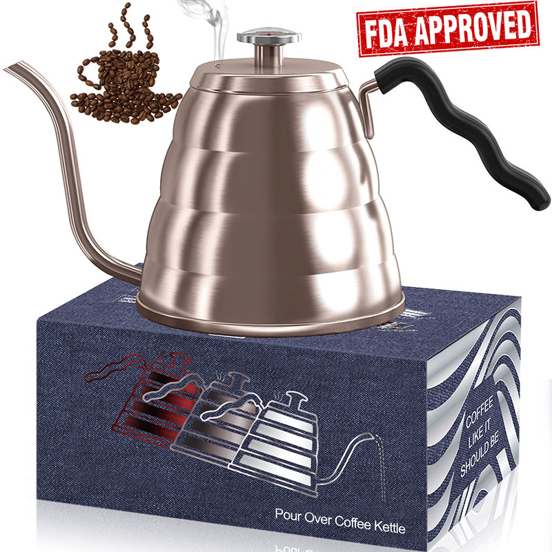 Triple Layer 18/8 Stainless Steel Pour Over Coffee Kettle with Thermometer, SAVE 10%