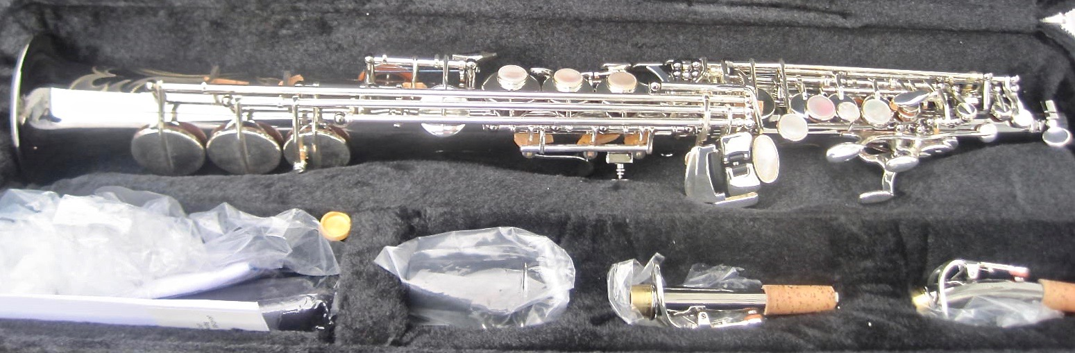New LA Sax Soprano Saxophone Black nickel body  with Silver plated keys