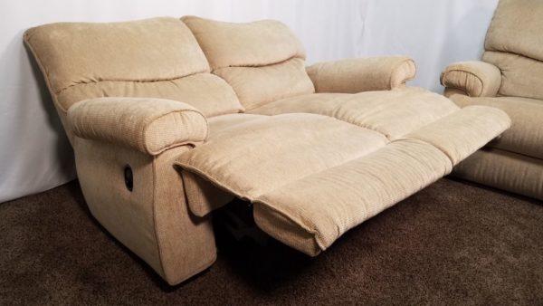 2 Piece La-Z-Boy Tan / Light Brown Chenille Reclining Sofa And Love Seat Set
