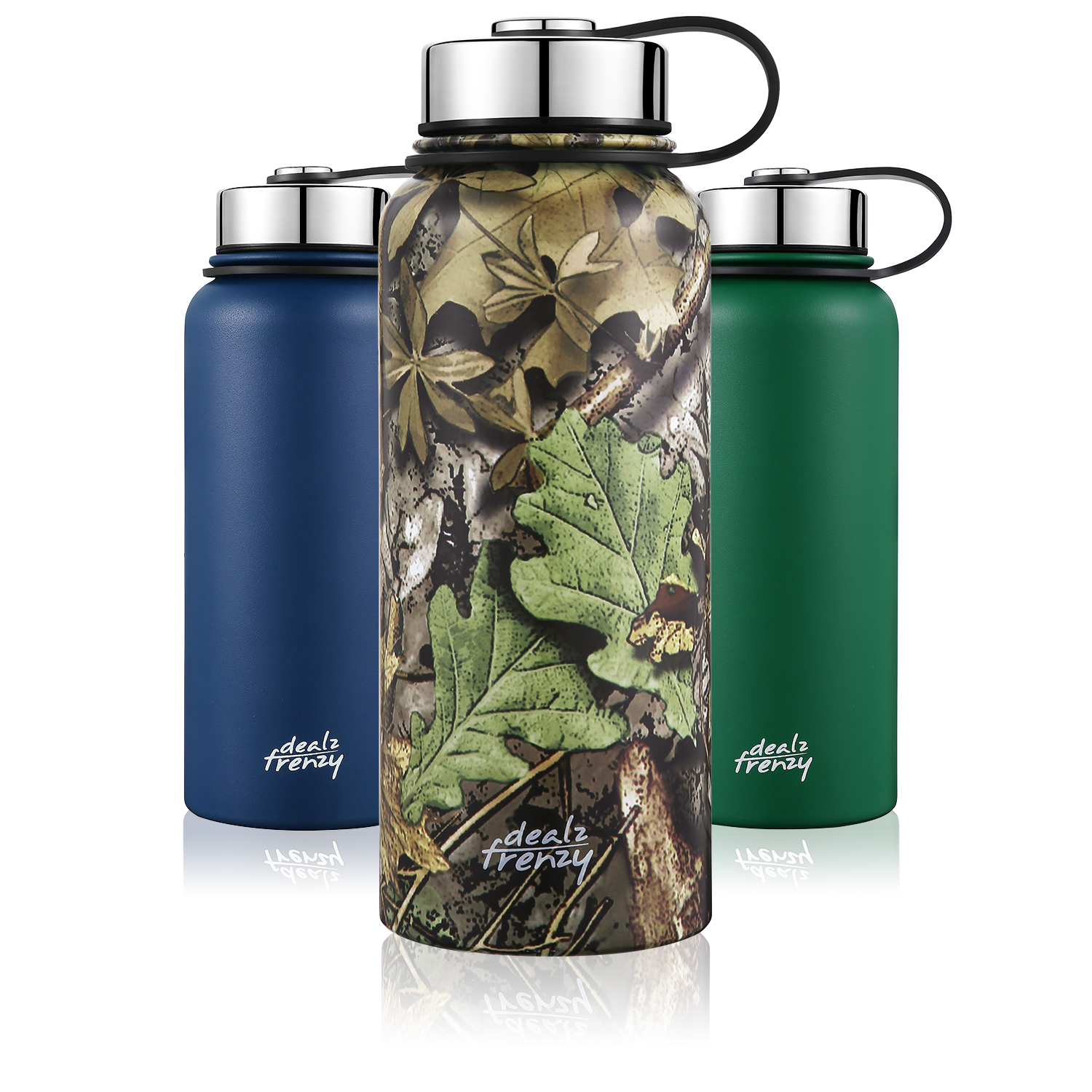 Insulated Water Bottle-Sports Bottle Wide Mouth Stainless Steel,No Sweat Travel Coffee Cup with lid