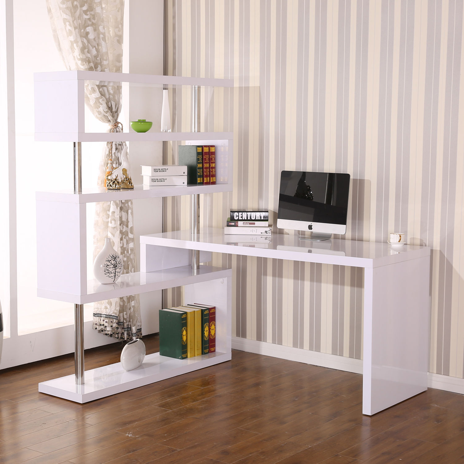Home Office Foldable Rotating Corner Desk with Shelves - BRAND NEW w/ FREE SHIPPING