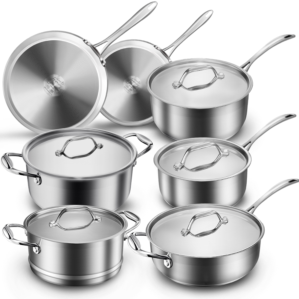 12 Piece Multi Clad Pro Stainless Steel Cookware Set, Save $20 with Amazon Coupon