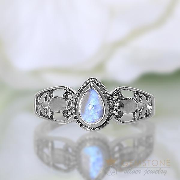 Moonstone Ring Mini Teardrop