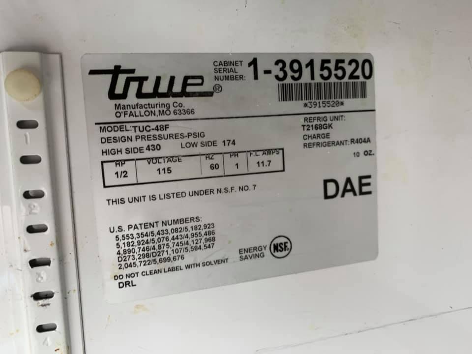 True 2 Door Worktop Refrigerator - Restaurant Equipment / Refrigeration
