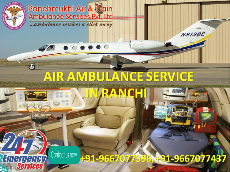 Book Affordable Cost Air Ambulance in Ranchi by Panchmukhi