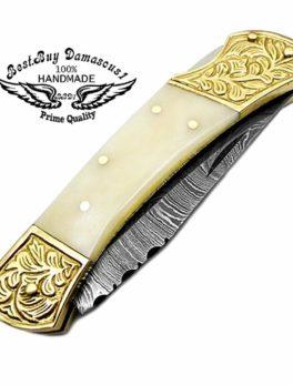 Folding Knife Camel Bone Brass Double Bloster