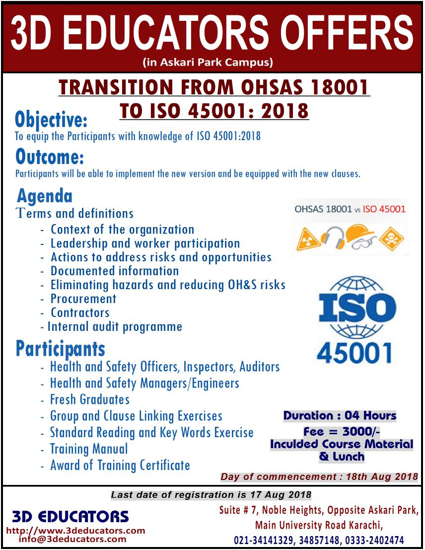ISO 45001 / OHSAS 18001 Lead Auditor Training Program In Pakistan